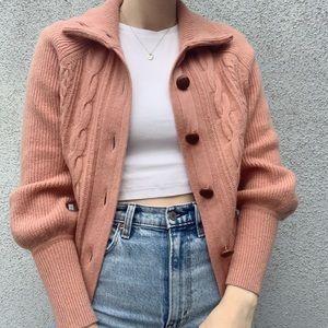 Mauve Pink J. Crew Button Balloon Sleeve Sweater